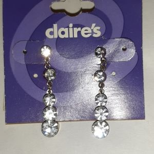 NWT Claire's Rhinestone Dangle Earrings